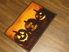 New Novelty Halloween Door Mat Non Slip 40cmx60cm Pumpkin Tick or Treat Orange